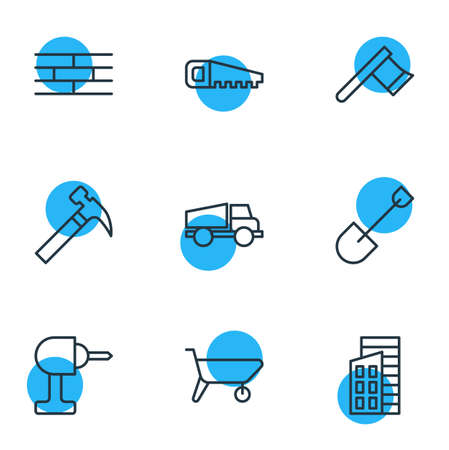 Vector Illustration Of 9 Industry Icons. Editable Pack Of Handcart, Lorry, Handle Hit Elements.