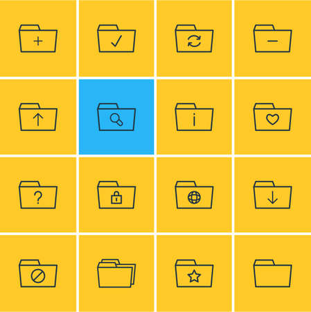 Vector Illustration Of 16 Folder Icons. Editable Pack Of Submit, Locked, Recovery And Other Elements. Illustration