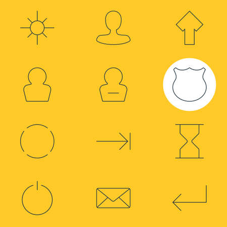 Vector Illustration Of 12 User Icons. Editable Pack Of Repeat, Tabulation Button, Switch Off And Other Elements.