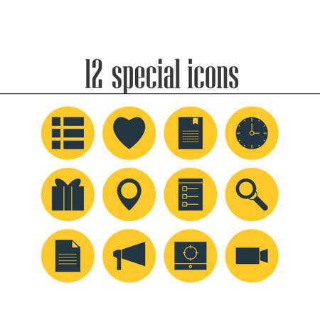 Vector Illustration Of 12 Internet Icons. Editable Pack Of Map Pointer, Love, Bookmark And Other Elements. Illustration