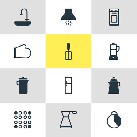 housewares: Vector Illustration Of 12 Kitchenware Icons. Editable Pack Of Tea, Extractor Appliance, Timekeeper And Other Elements.