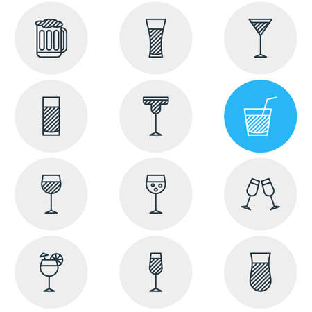 Vector Illustration Of 12 Beverage Icons. Editable Pack Of Glass, Champagne, Celebrate And Other Elements.