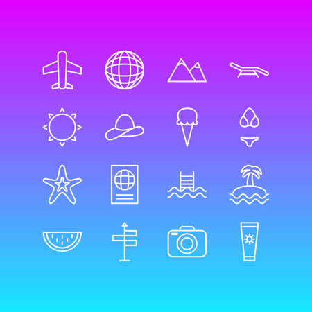 Vector Illustration Of 16 Season Icons. Editable Pack Of Earth, Airplane, Fish And Other Elements. Illustration