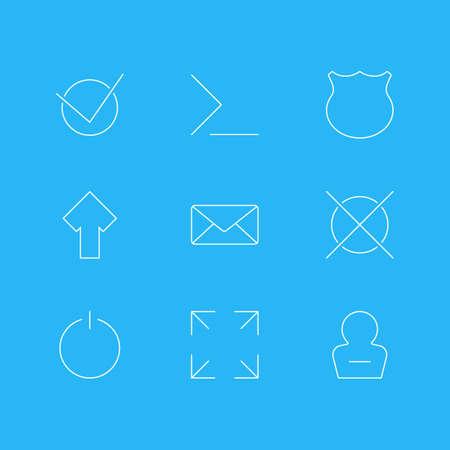 9 사용자 아이콘의 벡터 일러스트 레이 션. 편집 가능한 위로, 가드, 와이드 모니터 및 기타 요소 팩. 일러스트