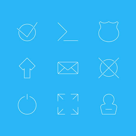 Vector Illustration Of 9 User Icons. Editable Pack Of Upward, Guard, Wide Monitor And Other Elements.
