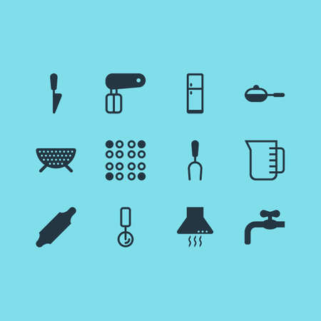 Vector Illustration Of 12 Kitchenware Icons. Editable Pack Of Kitchen Dagger, Refrigerator, Cooker And Other Elements.