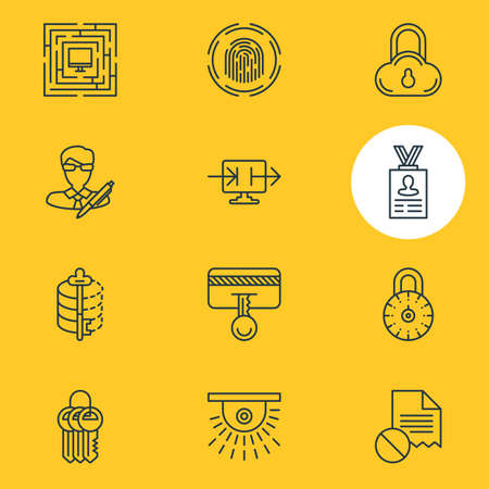 Vector Illustration Of 12 Security Icons. Editable Pack Of Safe Storage, Finger Identifier, Copyright And Other Elements.