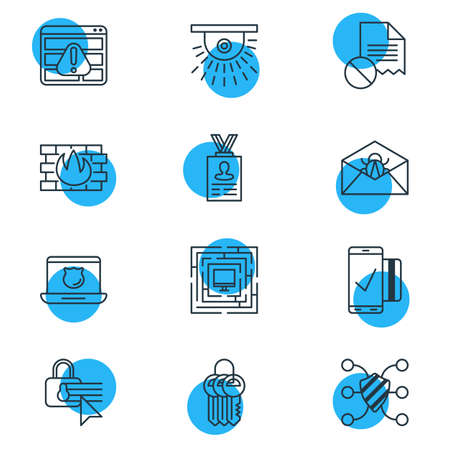 security monitor: Vector Illustration Of 12 Protection Icons. Editable Pack Of Key Collection, Confidentiality Options, Camera And Other Elements.