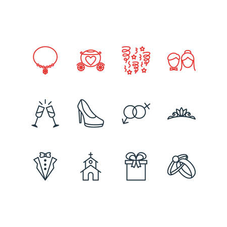 Vector Illustration Of 12 Wedding Icons. Editable Pack Of Wineglass, Present, Sexuality Symbol And Other Elements.