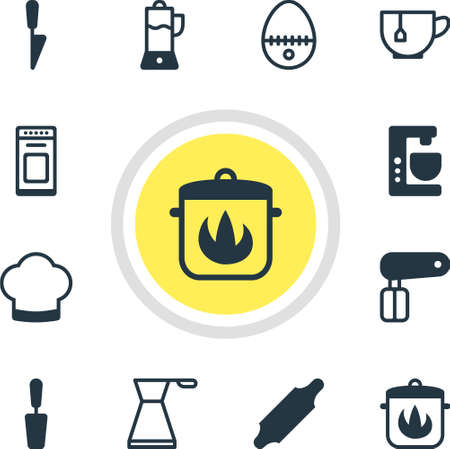 squeezer: Vector Illustration Of 12 Kitchenware Icons. Editable Pack Of Chef Hat, Breakfast, Stewpot And Other Elements.