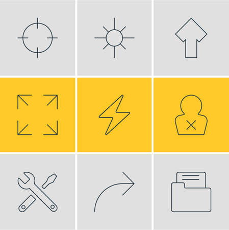 Vector Illustration Of 9 Interface Icons. Editable Pack Of Wide Monitor, Upward, Banned Member And Other Elements. Ilustrace