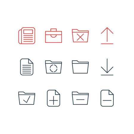 Vector Illustration Of 12 Office Icons. Editable Pack Of Approve, Blank, Deleting Folder And Other Elements. Фото со стока - 83137462