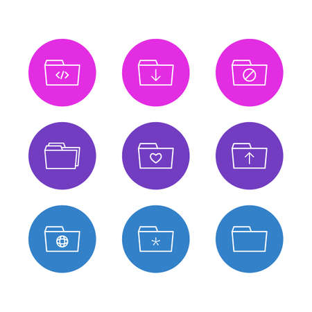 Vector Illustration Of 9 Folder Icons. Editable Pack Of Liked, Upload, Submit And Other Elements.