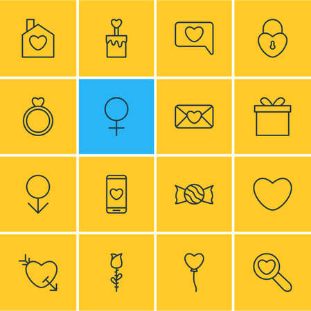 flue: Vector Illustration Of 16 Love Icons. Editable Pack Of Messenger, Magnifier, Lock And Other Elements.