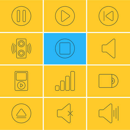 Vector Illustration Of 12 Melody Icons. Editable Pack Of Lag, Amplifier, Mp3 And Other Elements. Illustration