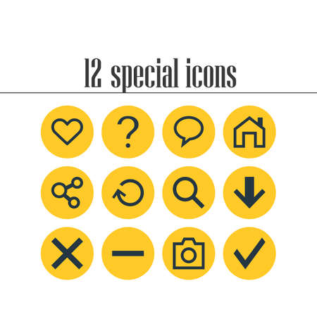 Vector Illustration Of 12 Member Icons. Editable Pack Of Confirm, Mainpage, Renovate And Other Elements. Illustration