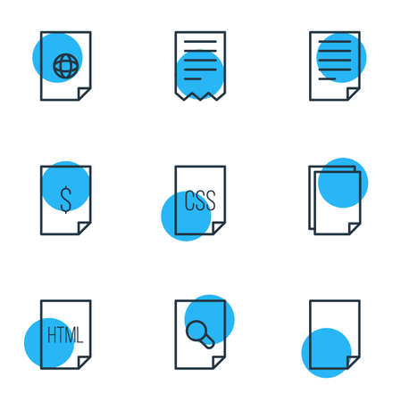 Vector Illustration Of 9 Paper Icons. Editable Pack Of Style, Copy, Folder And Other Elements. Illustration