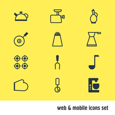 housewares: Vector Illustration Of 12 Cooking Icons. Editable Pack Of Teakettle, Carafe, Skillet And Other Elements.