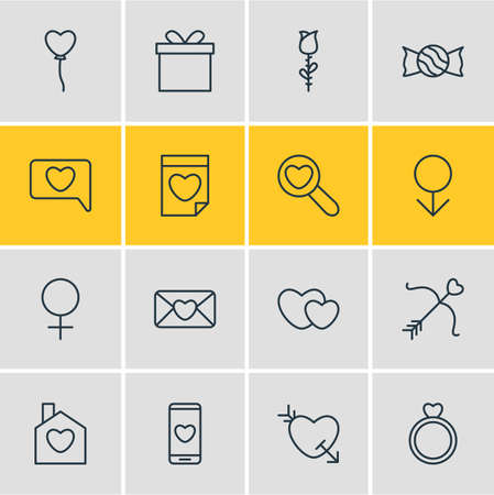 Vector Illustration Of 16 Love Icons. Editable Pack Of Male, Messenger, Rose And Other Elements. Illustration