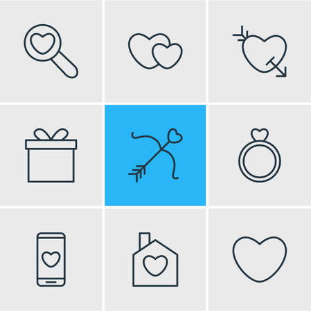 Vector Illustration Of 9 Amour Icons. Editable Pack Of Home, Engagement, Smartphone And Other Elements.