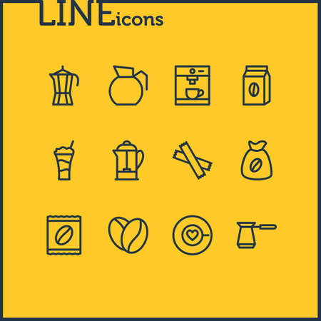 Editable Pack Of Bag, Cocktail, Sweetener And Other Elements.  Vector Illustration Of 12 Java Icons.  Ilustração
