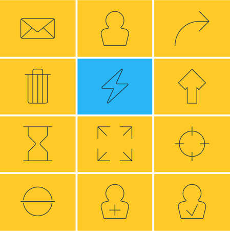 Editable Pack Of Garbage, Hourglass, Envelope And Other Elements.  Vector Illustration Of 12 User Icons. 일러스트