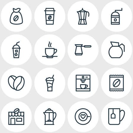 Vector Illustration Of 16 Drink Icons. Editable Pack Of Seed, Cocktail, Espresso And Other Elements. Ilustração