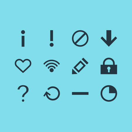 Illustration of 12 interface icons.