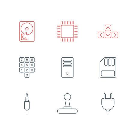 Illustration de 9 icônes informatiques.