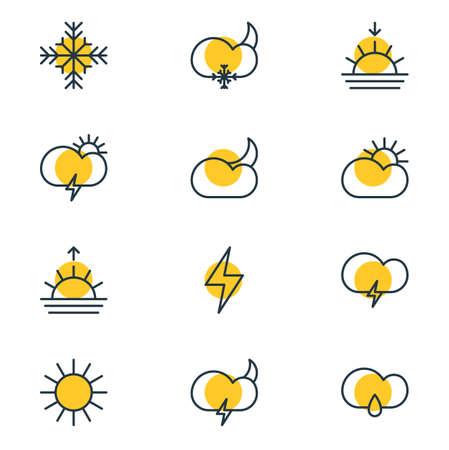 12 하늘 아이콘의 벡터 일러스트 레이 션. Drizzles, 눈, 햇빛 및 기타 요소 편집 가능한 팩. 일러스트