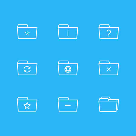 Vector Illustration Of 9 Folder Icons. Editable Pack Of Dossier, Significant, Remove And Other Elements.