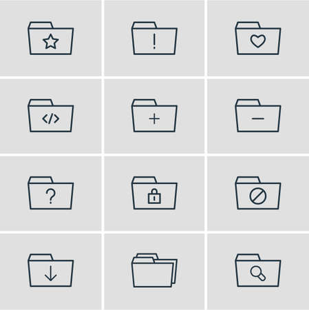 Vector Illustration Of 12 Document Icons. Editable Pack Of Liked, Plus, Script And Other Elements. Illustration
