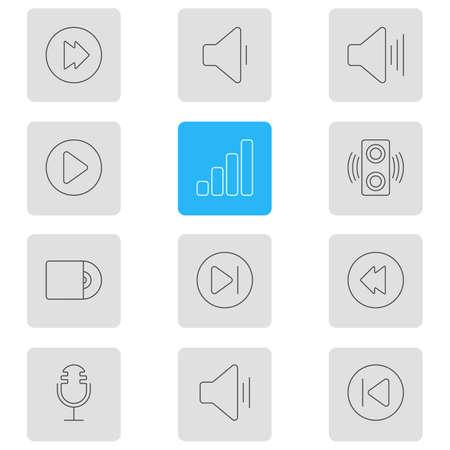 Illustrazione vettoriale di 12 icone musicali. Pacchetto di Amplificatori, Compact Disk, Start e altri elementi modificabili. Archivio Fotografico - 84781725