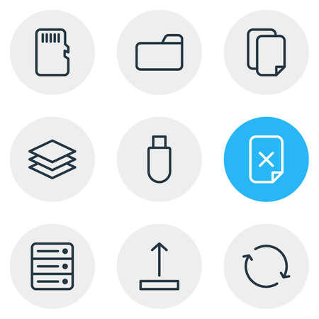repeatability: Vector Illustration Of 9 Archive Icons. Editable Pack Of Database, Layer, Flash Drive And Other Elements. Illustration