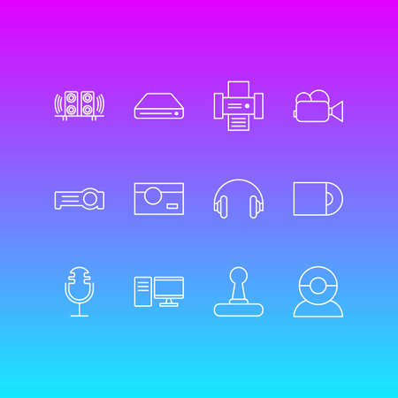 Vector Illustration Of 12 Accessory Icons. Editable Pack Of Sound Recording, PC, Game Controller And Other Elements. Illustration