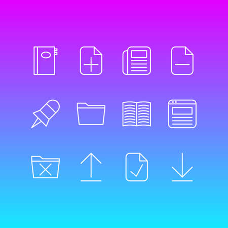 Vector Illustration Of 12 Workplace Icons. Editable Pack Of Install, Template, Delete And Other Elements.