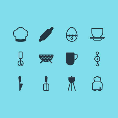 Vector Illustration Of 12 Kitchenware Icons. Editable Pack Of Bakery Roller, Cooking Spade, Chef Hat And Other Elements.