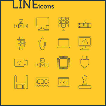 Vector Illustration Of 16 Computer Icons. Editable Pack Of Number Keypad, Laptop, Phone Near Computer And Other Elements. Illustration