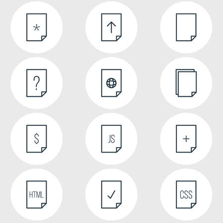 css: Vector Illustration Of 12 Paper Icons. Editable Pack Of Style, File, Plus And Other Elements.