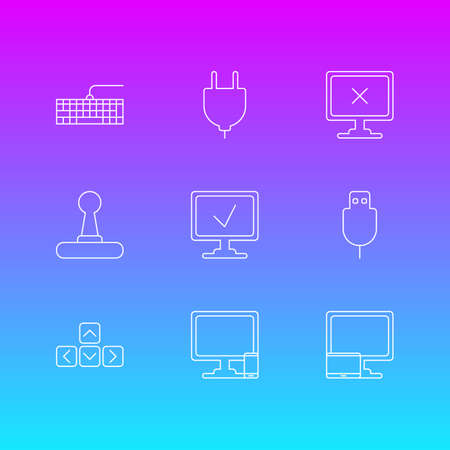 Vector Illustration Of 9 Notebook Icons. Editable Pack Of Keypad, Qwerty Board, Online Computer And Other Elements.