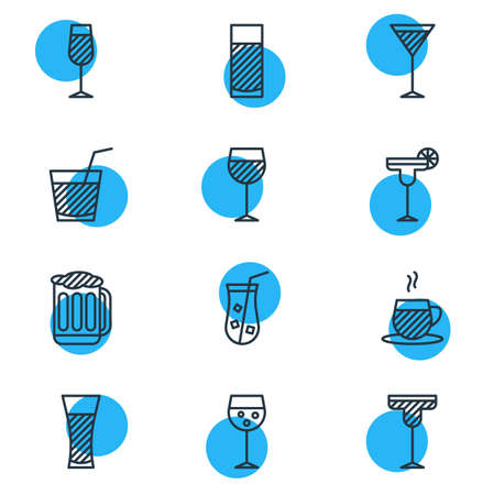 Vector Illustration Of 12 Beverage Icons. Editable Pack Of Martini, Cocktail, Draught And Other Elements.