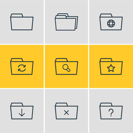 Vector Illustration Of 9 Document Icons. Editable Pack Of Document Case, Remove, Folders And Other Elements. 向量圖像