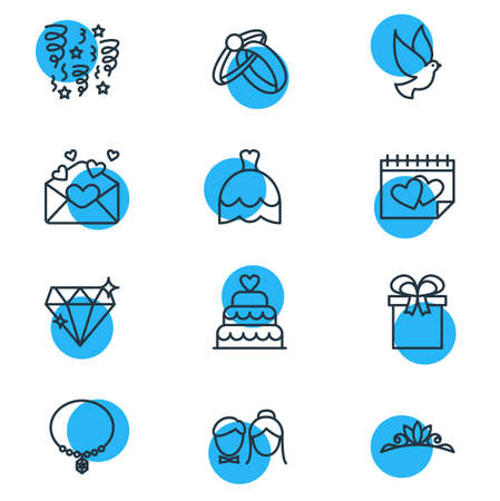 Vector Illustration Of 12 Engagement Icons. Editable Pack Of Pigeon, Brilliant, Card And Other Elements. Illustration