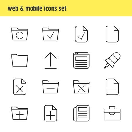 web browser: Illustration Of 16 Bureau Icons. Editable Pack Of Install, Loading, Approve And Other Elements.