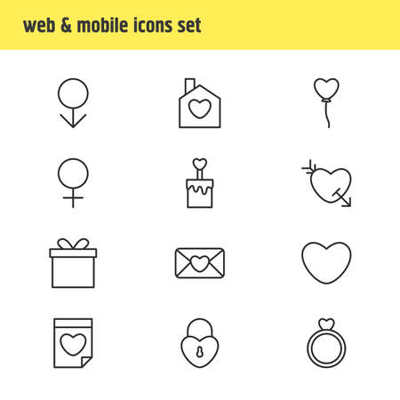 Vector Illustration Of 12 Amour Icons. Editable Pack Of Decoration, Home , Candle Elements.