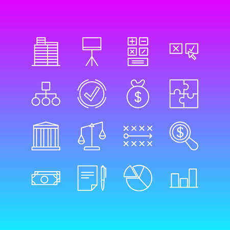 Vector Illustration Of 16 Trade Icons. Editable Pack Of House, Calculate, Balance And Other Elements. Illustration