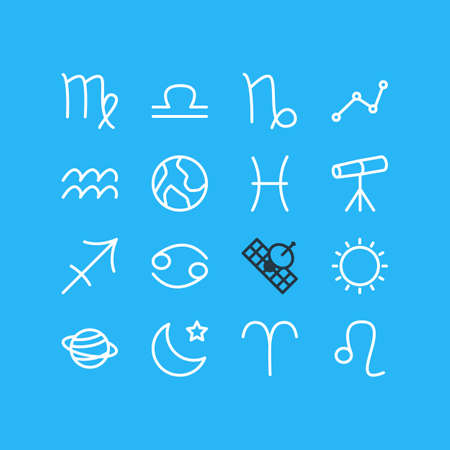 Vector Illustration Of 16 Astrology Icons. Editable Pack Of Ram, Archer, Fishes And Other Elements. Illustration