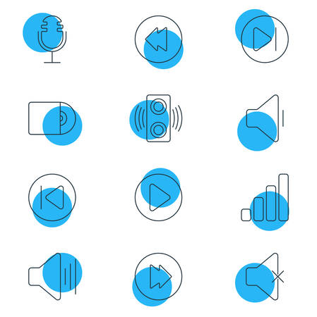 Vector Illustration Of 12 Music Icons. Editable Pack Of Decrease Sound, Subsequent, Advanced And Other Elements.