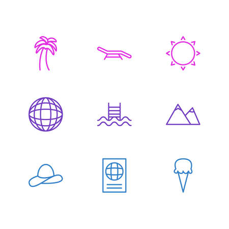 Vector Illustration Of 9 Summer Icons. Editable Pack Of Swimming, Sorbet, Earth And Other Elements. Stock Vector - 84546441