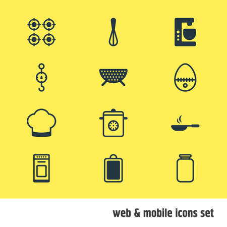 Vector Illustration Of 12 Cooking Icons. Editable Pack Of Chef Hat, Steelyard, Oven And Other Elements.